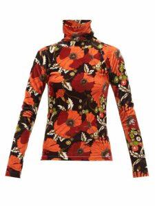 Dodo Bar Or - Brenda Floral-print High-neck Velvet Top - Womens - Black Multi