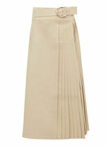 Dodo Bar Or - Estelle Pleated Leather Skirt - Womens - Ivory