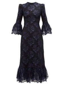 The Vampire's Wife - The Wild Flower Metallic Floral-lace Midi Dress - Womens - Black Navy
