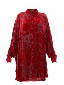 Ann Demeulemeester - Floral Devoré Velvet Blouse - Womens - Red