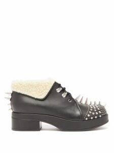 Gucci - Shearling-trimmed Spiked Leather Boots - Womens - Black Silver