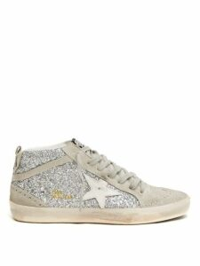 Golden Goose - Mid Star Glittered Leather Mid Top Trainers - Womens - White Silver
