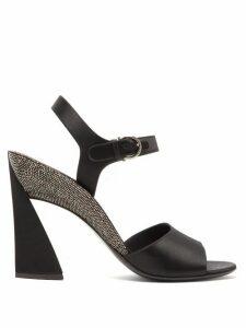 Salvatore Ferragamo - Aede Crystal-embellished Satin Sandals - Womens - Black