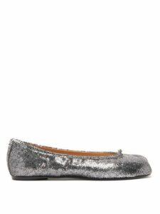 Maison Margiela - Tabi Split Toe Sequinned Ballet Flats - Womens - Silver