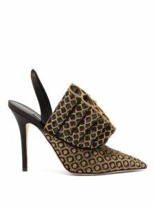 Andrea Mondin - Colette Ruffled Jacquard Slingback Pumps - Womens - Black Gold