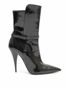 Saint Laurent - Kiki Point Toe Patent Leather Boots - Womens - Black