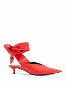 Balenciaga - Dance Knife Wrap Around Leather Mules - Womens - Red