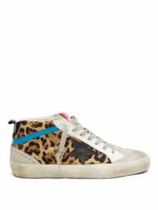 Golden Goose - Mid Star Mid Top Leather And Calf Hair Trainers - Womens - Leopard