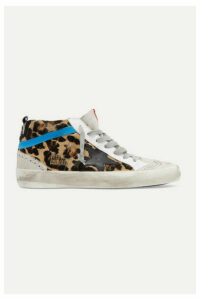 Golden Goose - Mid Star Distressed Leopard-print Calf Hair, Leather And Suede Sneakers - Leopard print