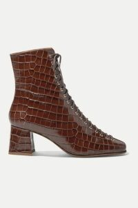BY FAR - Becca Glossed Croc-effect Leather Ankle Boots - Dark brown