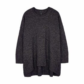 EILEEN FISHER Dark Purple Wool And Cotton-blend Jumper