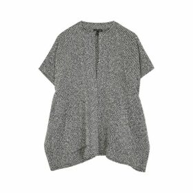 EILEEN FISHER Monochrome Woven Cotton Cardigan