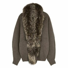 Dom Goor Fur-trimmed Merino Wool-blend Cardigan