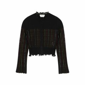Alexander McQueen Black Striped Metallic-weave Cardigan