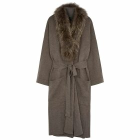 Dom Goor Brown Fur-trimmed Wool-blend Cardigan