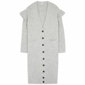 RED Valentino Grey Ruffle-trimmed Longline Cardigan