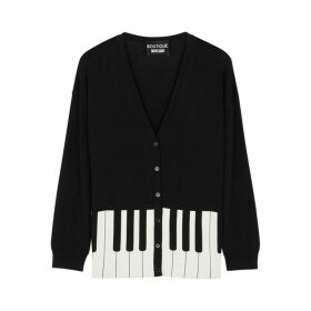 Boutique Moschino Black Piano-print Stretch-knit Cardigan