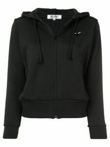 Comme Des Garçons Play logo print zipped hoodie - Black