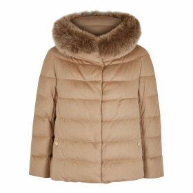 Herno Camel Fur-trimmed Silk-blend Jacket