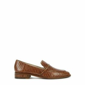 Freda Salvador Light Brown Crocodile-effect Leather Loafers