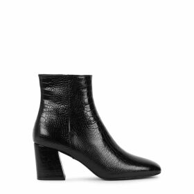 Freda Salvador Charm 70 Black Crocodile-effect Leather Ankle Boots