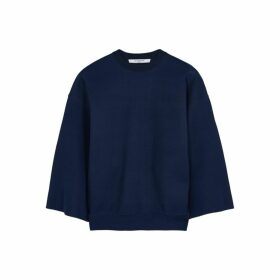 Givenchy Dark Blue Fine-knit Silk-blend Top