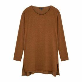 EILEEN FISHER Brown Silk-blend Jersey Top