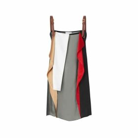 Burberry Leather Detail Colour Block Silk Top