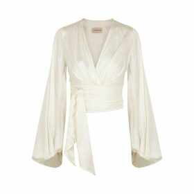 Alexandre Vauthier Off-white Stretch-silk Wrap Top