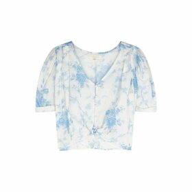 LoveShackFancy Tarren Floral-print Cotton Top