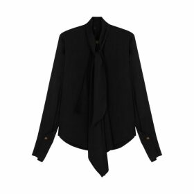 Petar Petrov Bennett Black Draped Satin Blouse