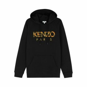 Kenzo Logo-appliquéd Hooded Cotton Sweatshirt
