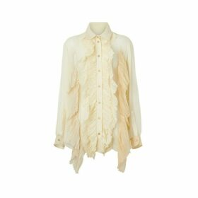Burberry Ruffle Detail Crepe De Chine Oversized Blouse