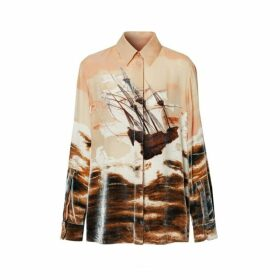 Burberry Ship Print Devore Silk Blend Oversized Shirt