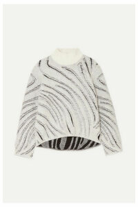 3.1 Phillip Lim - Fil Coupé Knitted Turtleneck Sweater - Zebra print