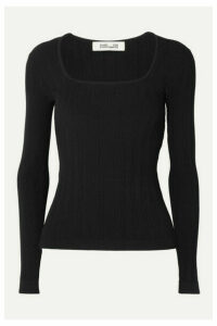 Diane von Furstenberg - Fera Ribbed Stretch-jersey Top - Black