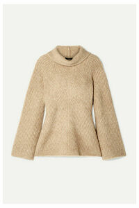 Theory - Ribbed Merino Wool-blend Bouclé Turtleneck Sweater - Sand