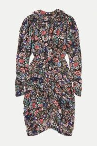 Isabel Marant - Blandine Draped Printed Silk-blend Dress - Black