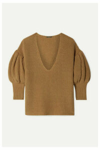 Caroline Constas - Ribbed Cotton And Wool-blend Sweater - Camel