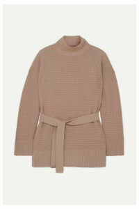 Agnona - Belted Cashmere Turtleneck Sweater - Blush