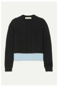 Marni - Two-tone Cable-knit Sweater - Black