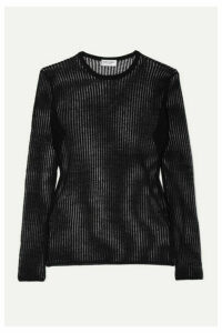 SAINT LAURENT - Ribbed Linen And Silk-blend Top - Black