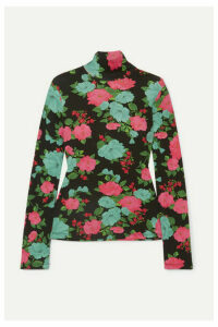 Erdem - Kelly Floral-print Ribbed Stretch-cotton Turtleneck Top - Black