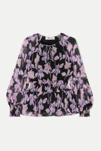 Diane von Furstenberg - Jacie Shirred Floral-print Silk-chiffon Blouse - Purple