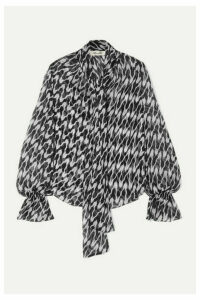 Diane von Furstenberg - Tina Pussy-bow Printed Silk Crepe De Chine Blouse - Black