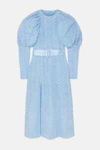 ROTATE Birger Christensen - Belted Embroidered Tulle Midi Dress - Sky blue
