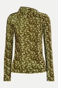 Dodo Bar Or - Brenda Floral-print Stretch-velvet Turtleneck Top - Green