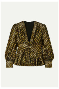 Dodo Bar Or - Malenia Metallic Floral-jacquard Silk-blend Blouse - Gold