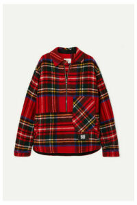 we11done - Asymmetric Tartan Shetland Wool Shirt - Red
