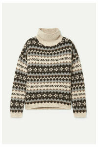 Nili Lotan - Catalina Fair Isle Alpaca-blend Turtleneck Sweater - Gray